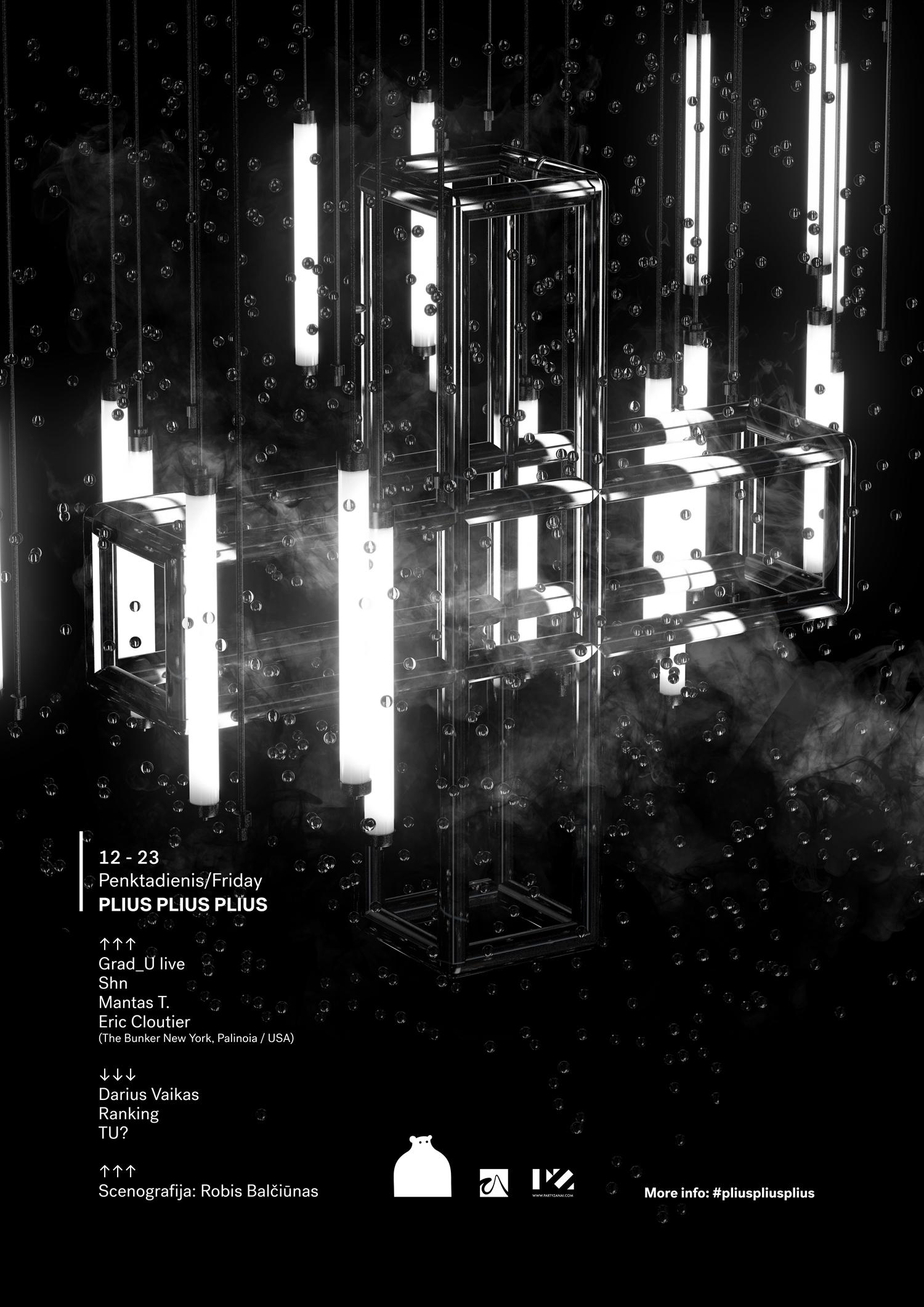 Plius Plius Plius with Eric Cloutier event poster by Romanas Orlovas